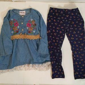 Little Lass denim top and matching pants
